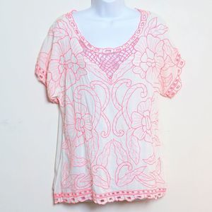 ASOS Neon Pink White Embroidered Top